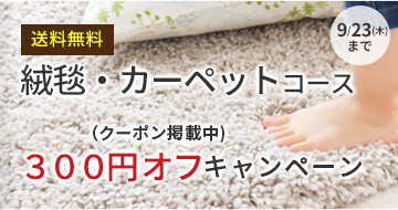 絨毯・カーペット300円オフキャンペーン