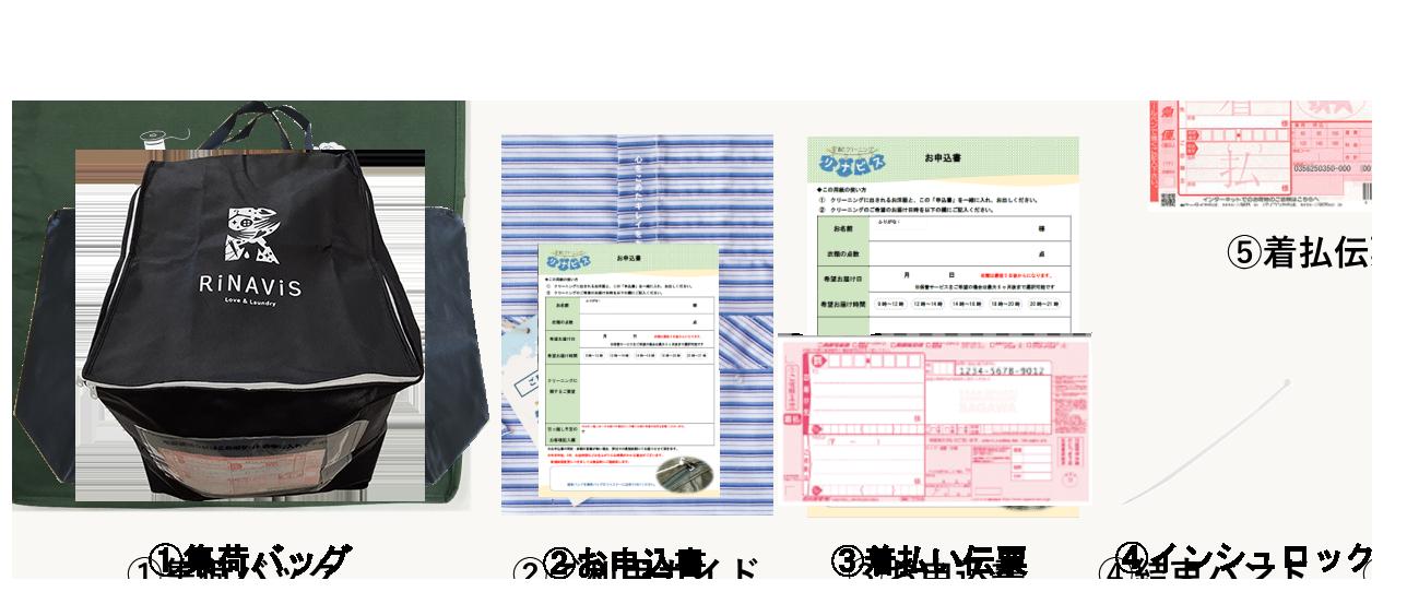 ①集荷パック ②ご利用ガイド ③お申込書 ④結束バンド ⑤着払伝票 ⑥指示カード